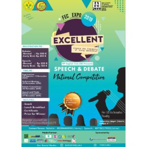 FIP EC UNJ : English Debate and Speech Competition – Universitas Negeri Jakarta, 15-17 November 2019