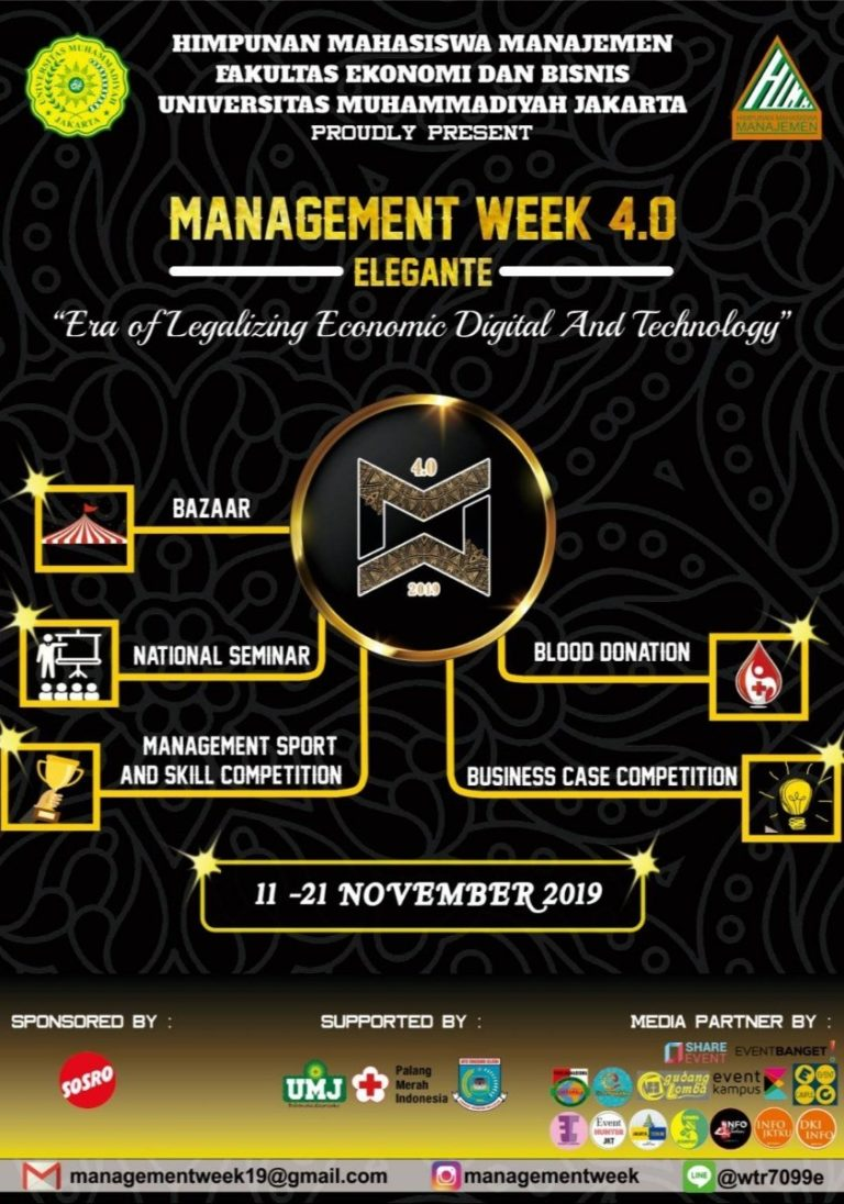 Management Week 4.0 – Universitas Muhammadiyah Jakarta, 11-22 November 2019
