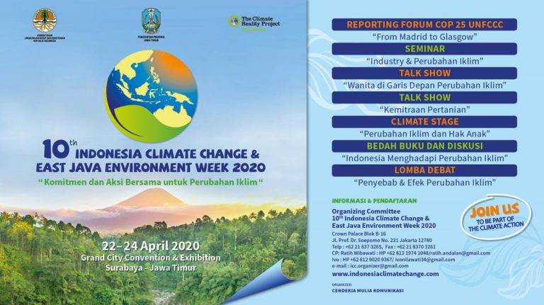 The 10th Indonesia Climate Change and East Java Environment Week – Grand City Surabaya, 22-24 April 2020